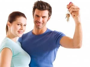 Photograph of first time house buyers