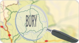 a map of the area of bury, manchester